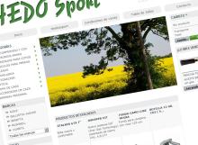 Captura de pantalla de la página de inicio en la tienda online de Hedo Sport